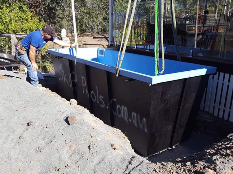 installing skip pool at coochin qld